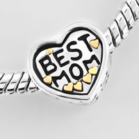 Bracelets - HEART LOVE BEST MOM BEADS LOBSTER CLASP BRACELET FIT ALL BRANDS CHARMS BEADS alternate image 1.