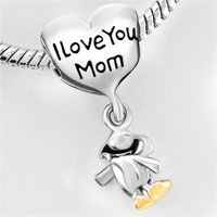 Bracelets - HEART I LOVE MOM DANGLE HAPPY BABY GIRL LOVE BEADS LOBSTER CLASP BRACELET FIT ALL BRANDS CHARMS BEADS alternate image 2.