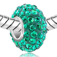 Sterling Silver Jewelry - BIRTHSTONE CHARMS EMERALD GREEN MAY BIRTHSTONE CRYSTALS BALL BEAD STERLING SILVER CHARM alternate image 1.