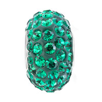 Sterling Silver Jewelry - BIRTHSTONE CHARMS EMERALD GREEN MAY BIRTHSTONE CRYSTALS BALL BEAD STERLING SILVER CHARM alternate image 2.