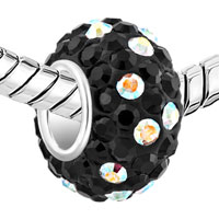 Sterling Silver Jewelry - BIRTHSTONE CHARMS 925 STERLING SILVER BLACK & COLORFUL CRYSTAL BEAD alternate image 1.