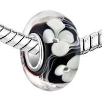 Sterling Silver Jewelry - 925  STERLING SILVER WHITE FLOWER CLOVER BLACK FIT ALL BRANDS MURANO GLASS BEADS CHARMS BRACELETS alternate image 1.
