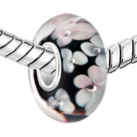 Sterling Silver Jewelry - 925  STERLING SILVER BLACK WHITE FLOWER FIT ALL BRANDS MURANO GLASS BEADS CHARMS BRACELETS alternate image 1.