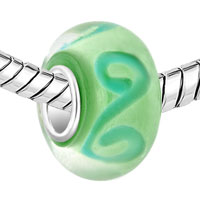 Sterling Silver Jewelry - 925  STERLING SILVER PERIDOT GREEN SWIRLS FIT ALL BRANDS MURANO GLASS BEADS CHARMS BRACELETS alternate image 1.