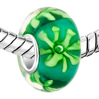 Charms Beads - PALE GREEN CHRYSANTHEMUM FIT MURANO GLASS BEADS CHARMS BRACELETS ALL BRANDS alternate image 1.