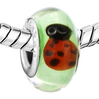 Charms Beads - GREEN CUTE RED LADYBUG FITS MURANO GLASS BEADS CHARMS BRACELETS FIT ALL BRANDS alternate image 1.