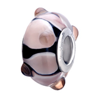 Murano Glass Jewelry - BLACK PINK PETALS AGAINST DOTS FITS MURANO GLASS BEADS CHARMS BRACELETS FIT ALL BRANDS alternate image 1.