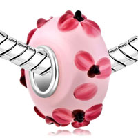 Charms Beads - PINK FLOWER LAMPWORK SILVER MURANO GLASS BEADS CHARMS BRACELETS FIT ALL BRANDS alternate image 1.