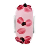 Charms Beads - PINK FLOWER LAMPWORK SILVER MURANO GLASS BEADS CHARMS BRACELETS FIT ALL BRANDS alternate image 2.