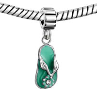 European Beads - AQUA BEACH SANDAL FIT ALL BRANDS DANGLE EUROPEAN BEADS CHARMS BRACELETS alternate image 2.