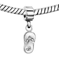 Charms Beads - SILVER CRYSTAL BEACH SANDAL SLIPPER CHARM BRACELET SPACERS DANGLE alternate image 1.