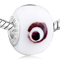 Charms Beads - EVIL EYE WHITE CIRCLE FIT MURANO GLASS BEADS CHARMS BRACELETS ALL BRANDS alternate image 1.