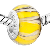 Charms Beads - YELLOW WHITE LAMPWORK SILVER MURANO GLASS BEADS CHARMS BRACELETS FIT ALL BRANDS alternate image 1.