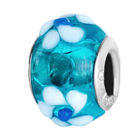 - PALE BLUE WITH WHITE FLOWER MURANO GLASS ALL BRANDS alternate image 1.