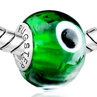 Charms Beads - GREEN EVIL EYE FITS MURANO GLASS BEADS CHARMS BRACELETS FIT ALL BRANDS alternate image 1.