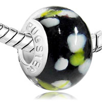 Charms Beads - MOTHERS DAY GIFTS CLASSIC BLACK WHITE FLOWERS FITS MURANO GLASS BEADS CHARMS BRACELETS FIT ALL BRANDS alternate image 1.