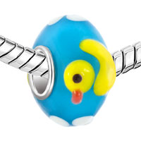 Charms Beads - CUTE DUCK LAMPWORK SILVER MURANO GLASS BEADS CHARMS BRACELETS FIT ALL BRANDS alternate image 1.