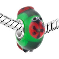 Charms Beads - CUTE LADYBUG ANIMAL PERIDOT GREEN FITS MURANO GLASS BEADS CHARMS BRACELETS FIT ALL BRANDS alternate image 1.