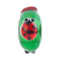 Charms Beads - CUTE LADYBUG ANIMAL PERIDOT GREEN FITS MURANO GLASS BEADS CHARMS BRACELETS FIT ALL BRANDS alternate image 2.