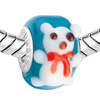 Charms Beads - WHITE TEDDY BEAR HEART FOREVER LOVE LOVER ANIMAL AQUAMARINE BLUE FITS MURANO GLASS BEADS CHARMS BRACELETS FIT ALL BRANDS alternate image 1.