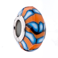 Charms Beads - ORANGE PALE BLUE STRIPE POLYMER CLAY FIT &  MURANO GLASS BEADS CHARMS BRACELETS ALL BRANDS alternate image 1.