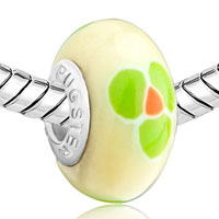 Charms Beads - PALE GREEN CLOVER FITS BEADS CHARMS BRACELETS FIT ALL BRANDS alternate image 1.