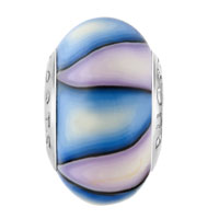 European Beads - PALE BLUE AND PURPLE STRIPES POLYMER CLAY BEADS CHARMS BRACELETS alternate image 2.