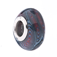 European Beads - BLUE WHITE AND RED WHIRLPOOL POLYMER CLAY BEADS CHARMS BRACELETS alternate image 1.