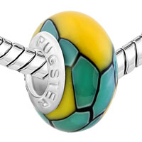 European Beads - YELLOW STONES BLUE STRIPES POLYMER CLAY BEADS CHARMS BRACELETS alternate image 1.