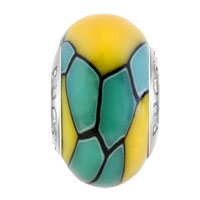 Charms Beads - YELLOW STONES BLUE STRIPES FITS MURANO GLASS BEADS CHARMS BRACELETS FIT ALL BRANDS alternate image 2.