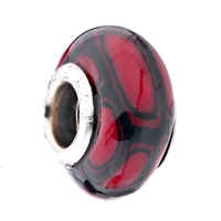 Charms Beads - DARK RED BLACK FUSION IRREGULAR FIT ALL BRANDS MURANO GLASS BEADS CHARMS BRACELETS alternate image 1.