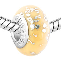 Charms Beads - WHITE SPOTS AGAINST CREAM COLOURED FITS MURANO GLASS BEADS CHARMS BRACELETS FIT ALL BRANDS alternate image 1.