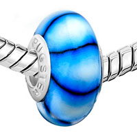 Charms Beads - PALE BLUE BLACK STRIPES MURANO GLASS BEADS CHARMS BRACELETS FIT ALL BRANDS alternate image 1.