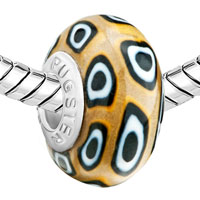 European Beads - YELLOW WHITE AND BLACK ROUNDS AGAINST BROWN POLYMER CLAY BEADS CHARMS BRACELETS alternate image 1.