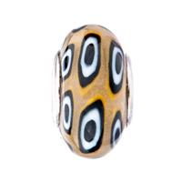 European Beads - YELLOW WHITE AND BLACK ROUNDS AGAINST BROWN POLYMER CLAY BEADS CHARMS BRACELETS alternate image 2.