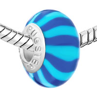European Beads - BULE AND PALE BLUE STRIPES POLYMER CLAY BEADS CHARMS BRACELETS alternate image 1.