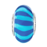 European Beads - BULE AND PALE BLUE STRIPES POLYMER CLAY BEADS CHARMS BRACELETS alternate image 2.
