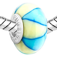 European Beads - PALE BLUE AND CREAM COLOURED LEAF POLYMER CLAY BEADS CHARMS BRACELETS alternate image 1.