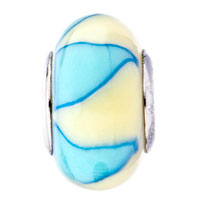 European Beads - PALE BLUE AND CREAM COLOURED LEAF POLYMER CLAY BEADS CHARMS BRACELETS alternate image 2.