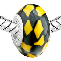 Charms Beads - YELLOW BLACK IRREGULAR SHAPES LAMPWORK SILVER BEADS CHARMS BRACELETS FIT ALL BRANDS alternate image 1.
