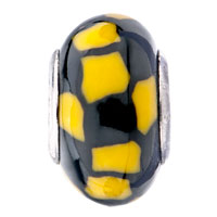Charms Beads - YELLOW BLACK IRREGULAR SHAPES LAMPWORK SILVER BEADS CHARMS BRACELETS FIT ALL BRANDS alternate image 2.