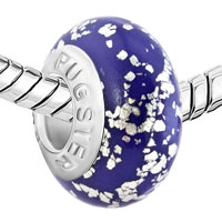 Charms Beads - SILVER METALLIC GLITTER AMETHYST PURPLE POLYMER CLAY FIT ALL BRANDS MURANO GLASS BEADS CHARMS BRACELETS alternate image 1.