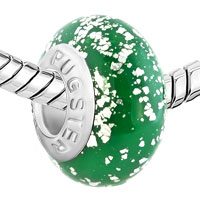 European Beads - EMERALD GREEN BALL SILVER POLYMER CLAY ALL BRAND BEADS CHARMS BRACELETS alternate image 1.