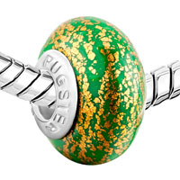 Charms Beads - MAY GREEN GOLDEN SPOTS DOTTED POLYMER CLAY &  MURANO GLASS BEADS CHARMS BRACELETS FIT ALL BRANDS alternate image 1.