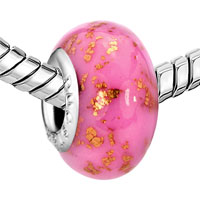 European Beads - OCTOBER PINK GOLDEN SPOTS DOTTED POLYMER CLAY MURANO GLASS BEADS CHARMS BRACELETS alternate image 1.