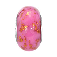 European Beads - OCTOBER PINK GOLDEN SPOTS DOTTED POLYMER CLAY MURANO GLASS BEADS CHARMS BRACELETS alternate image 2.