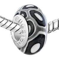 European Beads - BLACK AND WHITE ROUND DOTTED AGAINST GRAY POLYMER CLAY BEADS CHARMS BRACELETS alternate image 1.