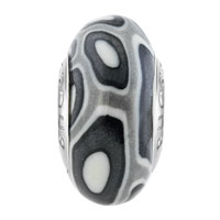 European Beads - BLACK AND WHITE ROUND DOTTED AGAINST GRAY POLYMER CLAY BEADS CHARMS BRACELETS alternate image 2.