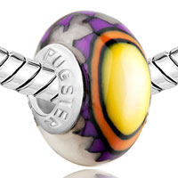 Charms Beads - YELLOW PURPLE FLOWER FIT &  BEADS CHARMS BRACELETS ALL BRANDS alternate image 1.