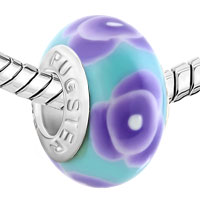 European Beads - BLUE FLOWER AGAINST PALE POLYMER CLAY BEADS CHARMS BRACELETS alternate image 1.